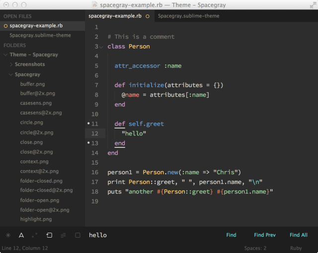 Spacegray - плоская тема для Sublime Text: тема spacegray-eighties
