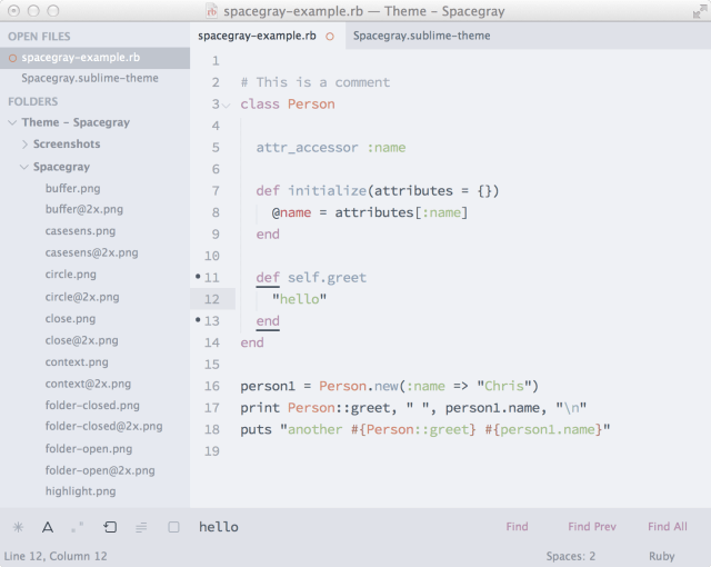 Spacegray - плоская тема для Sublime Text: тема spacegray-light