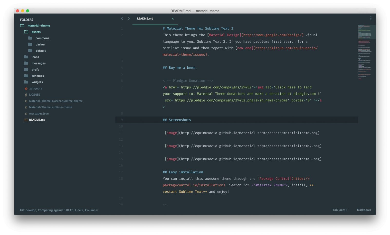 Material Theme для Sublime Text 3