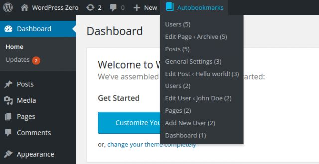 WordPress Dashboard Autobookmarks