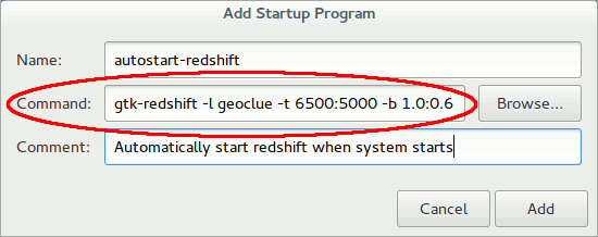 Paste the command to start Redshift.